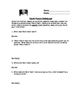 Mark Twain Webquest with Answer Key!