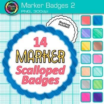 Marker Badges Clip Art 2 - Clip Art Borders, Labels, Frames