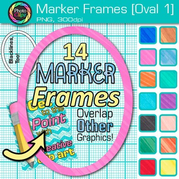 Marker Oval Frames Clip Art {Page Borders & Frames for Wor