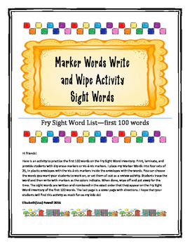 Marker Words Write and Wipe Activity-first 100 Fry Sight W