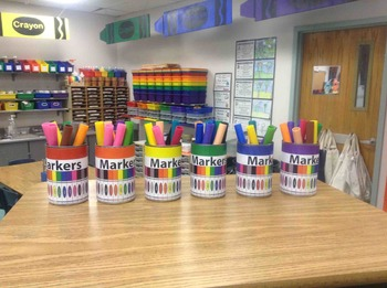 Markers Labeling Cards for Bins or Labels & Classroom Orga