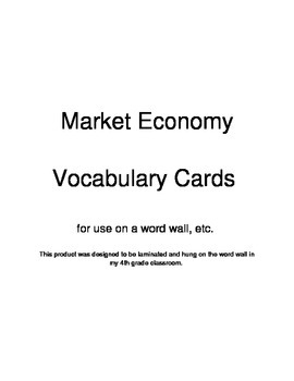 Market Economy Definition Cards 4.E.1