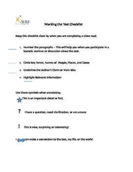 Marking the Text Checklist