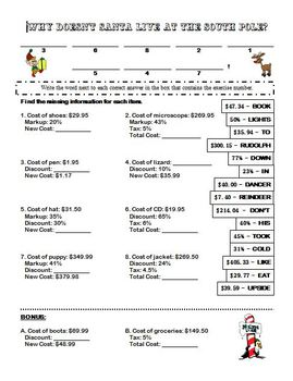 Markups, Discounts, and Tax Riddle Sheet