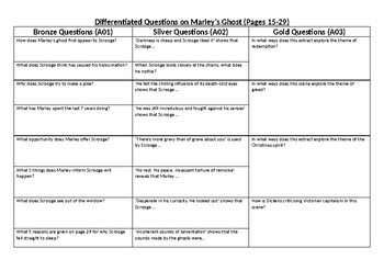 Marley's Ghost A Christmas Carol differentiated questions