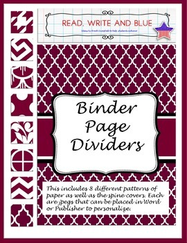 Maroon Binder Cover or Page Dividers