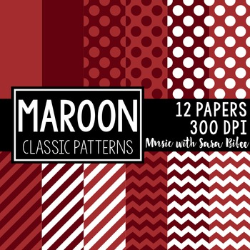 Maroon Classic Designs- 12 Digital Papers