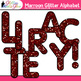 Maroon Glitter Alphabet Clip Art - Letter Recognition and