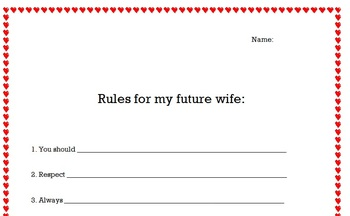 Marriage Rules written by kids (FUN OPEN HOUSE DISPLAY)