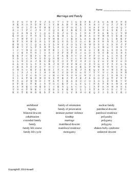 Marriage and Family Vocabulary Word Search for Sociology