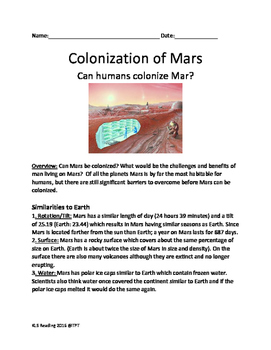 Mars - Colonization Lesson Travel to Mars? Colony on Mars?