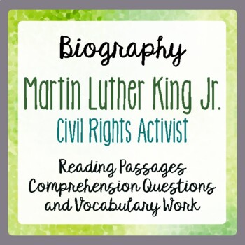 Martin Luther King Biography Informational Texts, Activities