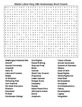 Martin Luther King 50th Anniversary Word Search with KEY