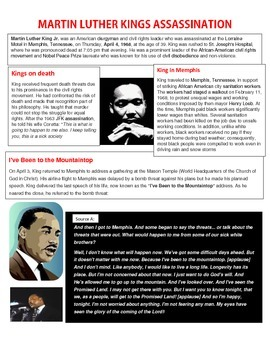 Martin Luther King MLK Assassination reading handout and w