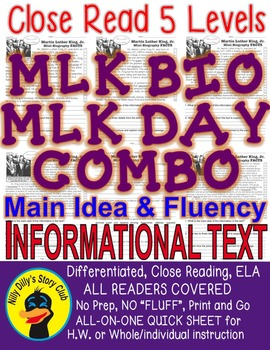 Martin Luther King BIO and MLK Day Close Read 5 Levels 2 I