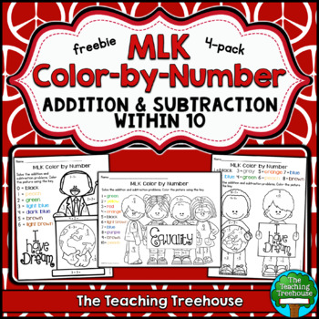 Free Martin Luther King Color by Number ~ Addition & Subtr