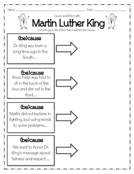 Martin Luther King Day Cause Effect Reproducible, Print and Go