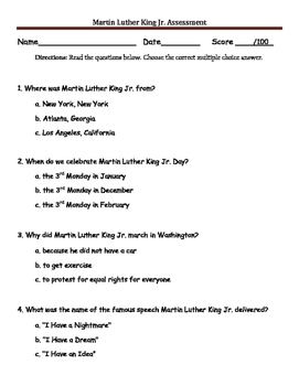 Martin Luther King Jr. Assessment
