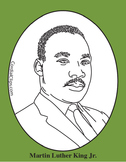 Martin Luther King Jr. Clip Art, Black and White Line Art Picture