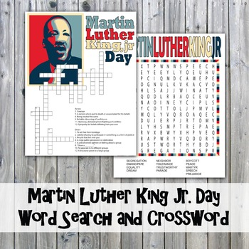 Martin Luther King Jr. Day Crossword Puzzle and Word Search