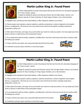 Martin Luther King Jr.  Found Poem Activity