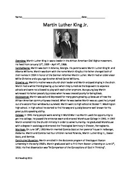Martin Luther King Jr Full History Review article question