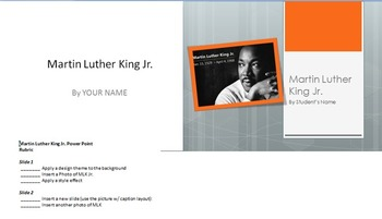 Martin Luther King Jr. Power Point assignment for Computer