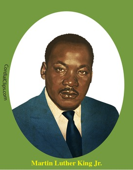 Martin Luther King Jr. Realistic Clip Art, Coloring Page a
