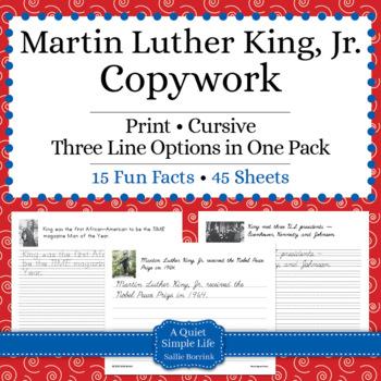 Martin Luther King, Jr. Unit - Copywork - Print and Cursiv