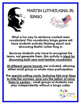 Martin Luther King Jr. Vocabulary Bingo
