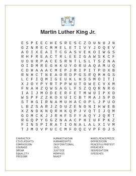 Martin Luther King Jr. Wordsearch