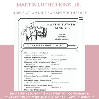 Martin Luther King, Jr.: comprehension, sequencing, vocabu