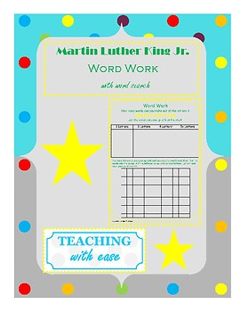Martin Luther King: Making Words and Extension Activity