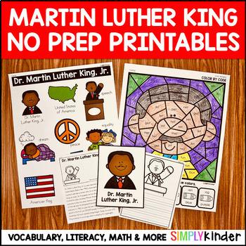 Martin Luther King Jr No Prep Printables for Kindergarten