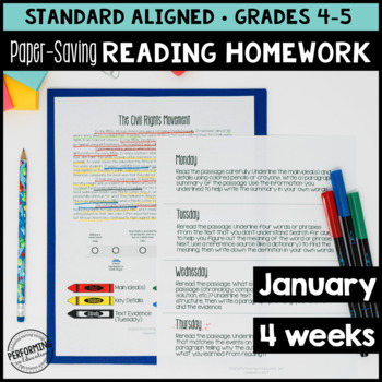 Paper-Saving Reading Homework for 4th & 5th - 4 weeks Mart