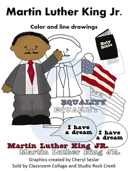 Martin Luther King US History Color and Line Drawings Clip