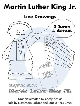 Martin Luther King US History Line Drawings Clip Art  C. Seslar