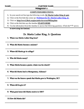 Martin Luther King Webquests