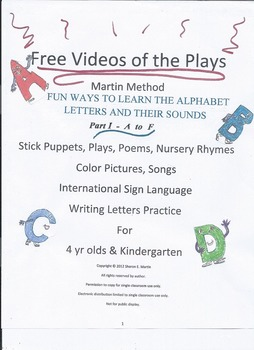 Reading, Martin Method PreK Play 3 Video- Fun Alphabet Lea