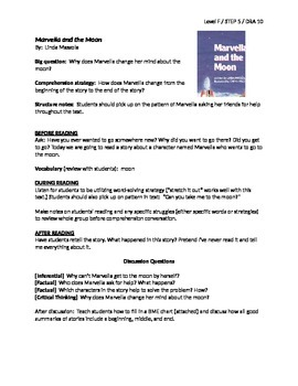 Marvella and the Moon Guided Reading Lesson Plan - Level F