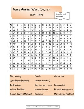Mary Anning Word Search