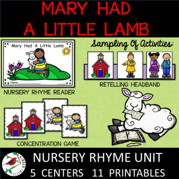 Mary Had A Little Lamb Nursery Rhyme Literacy Centers for