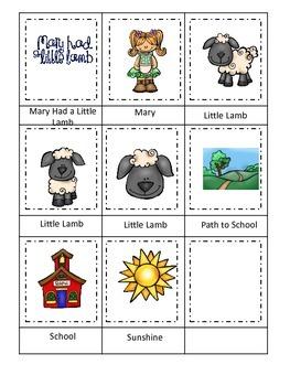 Mary Had a Little Lamb themed Three Part Matching preschoo