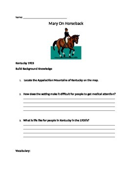 Mary On Horseback Comprehension Packet
