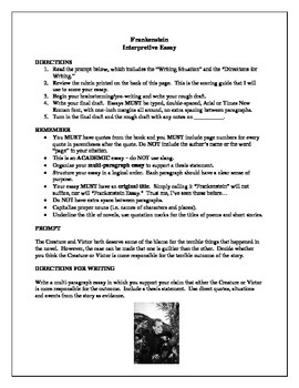 Mary Shelley's Frankenstein - Interpretive Essay Prompt