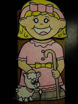 Mary had a little lamb nursery rhyme paper bag puppet