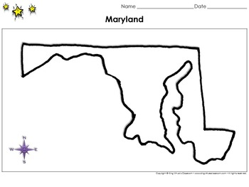 Maryland Map - Blank - Full Page - Virginia's Bordering St