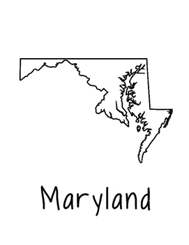 Maryland Map Coloring Page Activity - Lots of Room for Not
