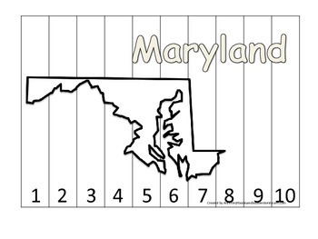 Maryland Number Sequence Puzzle.  Learn the States prescho