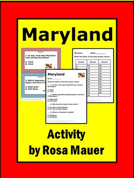 Maryland State Facts Social Studies